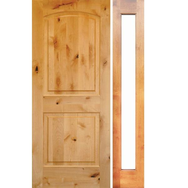 Krosswood Doors 46 In X 96 In Rustic Unfinished Knotty Alder Arch Top Right Hand Right Full Sidelite Clear Glass Prehung Front Door Phed Ka 002 28 80 134 Rh Rfsl The Home Depot
