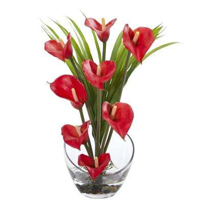 15.5 in. High Red Calla Lily and Grass Artificial Arrangement in Vase
