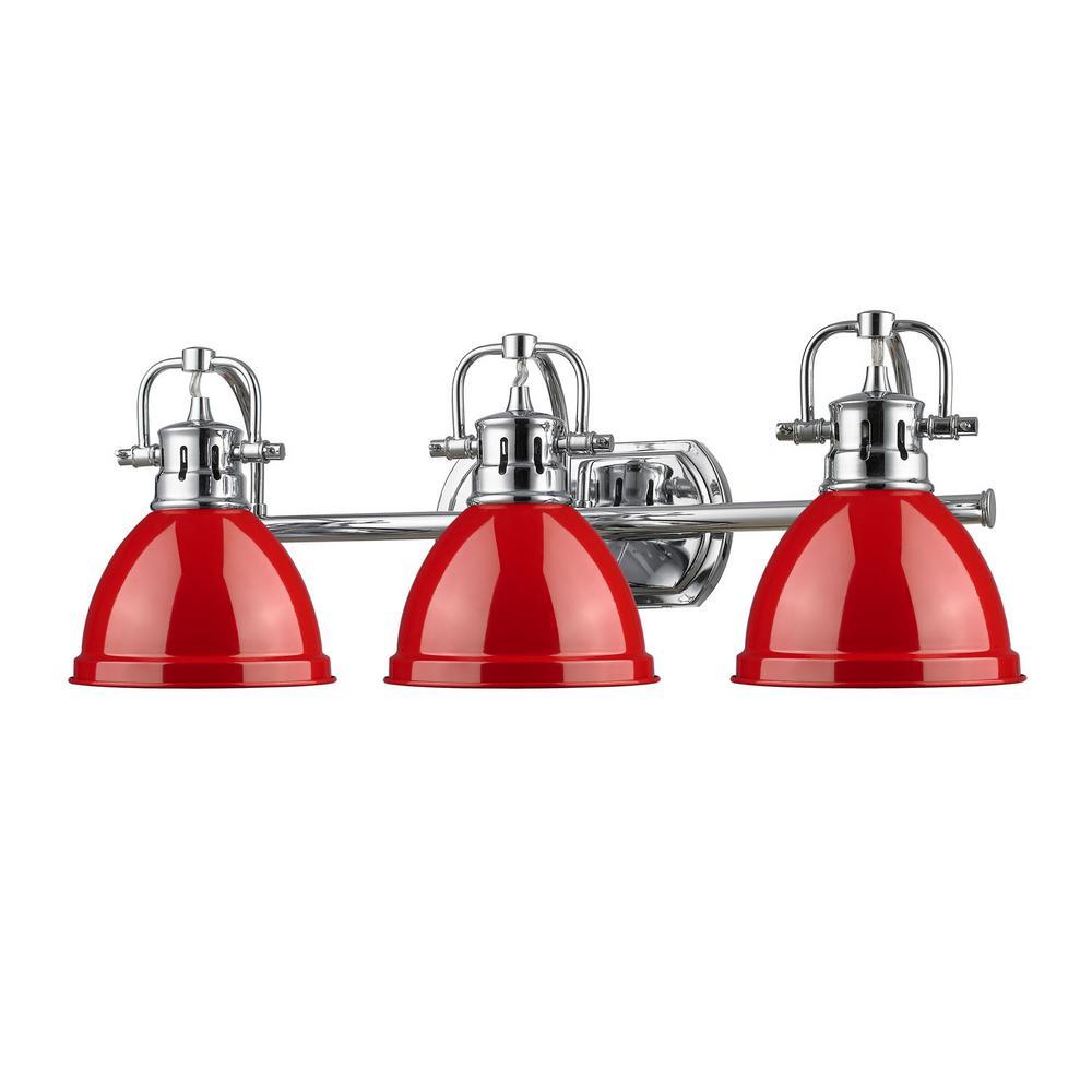 Duncan 3-Light Chrome Bath Light with Red Shade