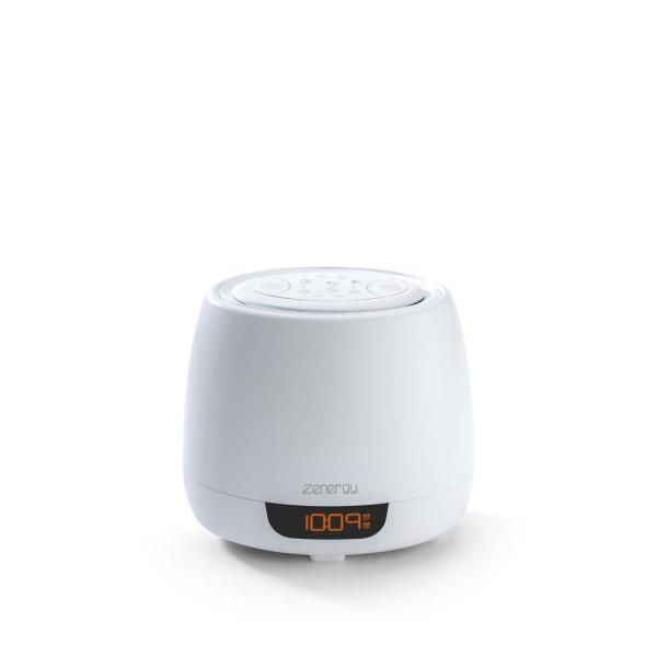 Zenergy Aromatherapy White Essential Oil Diffuser Alarm Clock with Sound Therapy and Remote