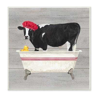 """12 in. x 12 in. """"Bath Time For Cows at Tub Red Black and Grey Painting"""" by Tara Reed Wood Wall Art"""