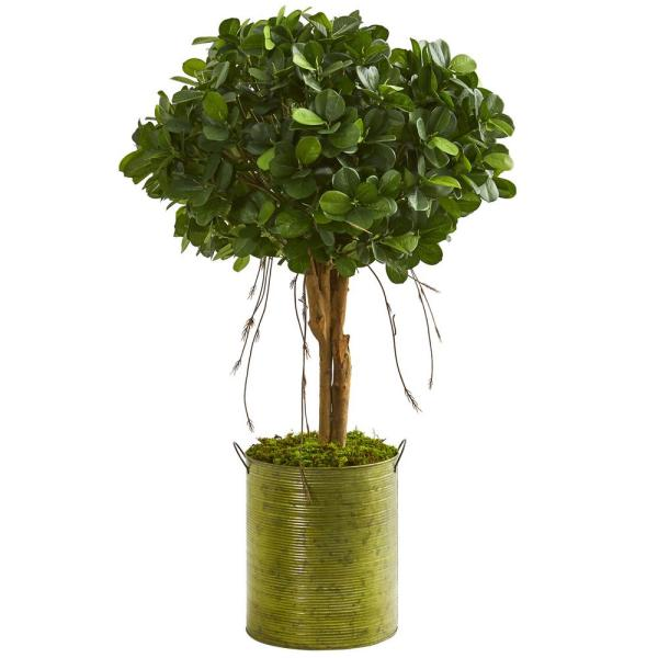 Nearly Natural Indoor 3-Ft. Ficus Artificial Tree in Green Metal Planter