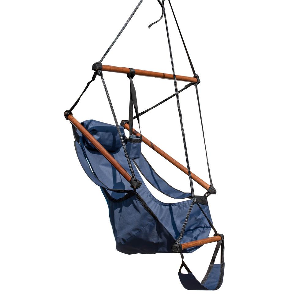 b8f701f4261b 38 ft. Hanging Hammock Swing Chair for Yard, Patio with Pillow and  Footrest-Midnight in Blue
