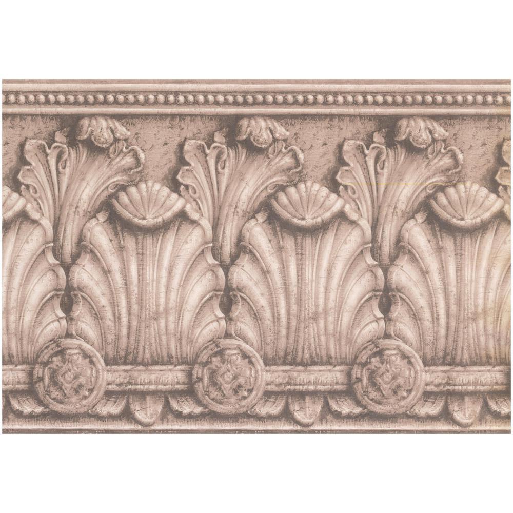 Victorian Baroque Coconut White Black Prepasted Wallpaper Border