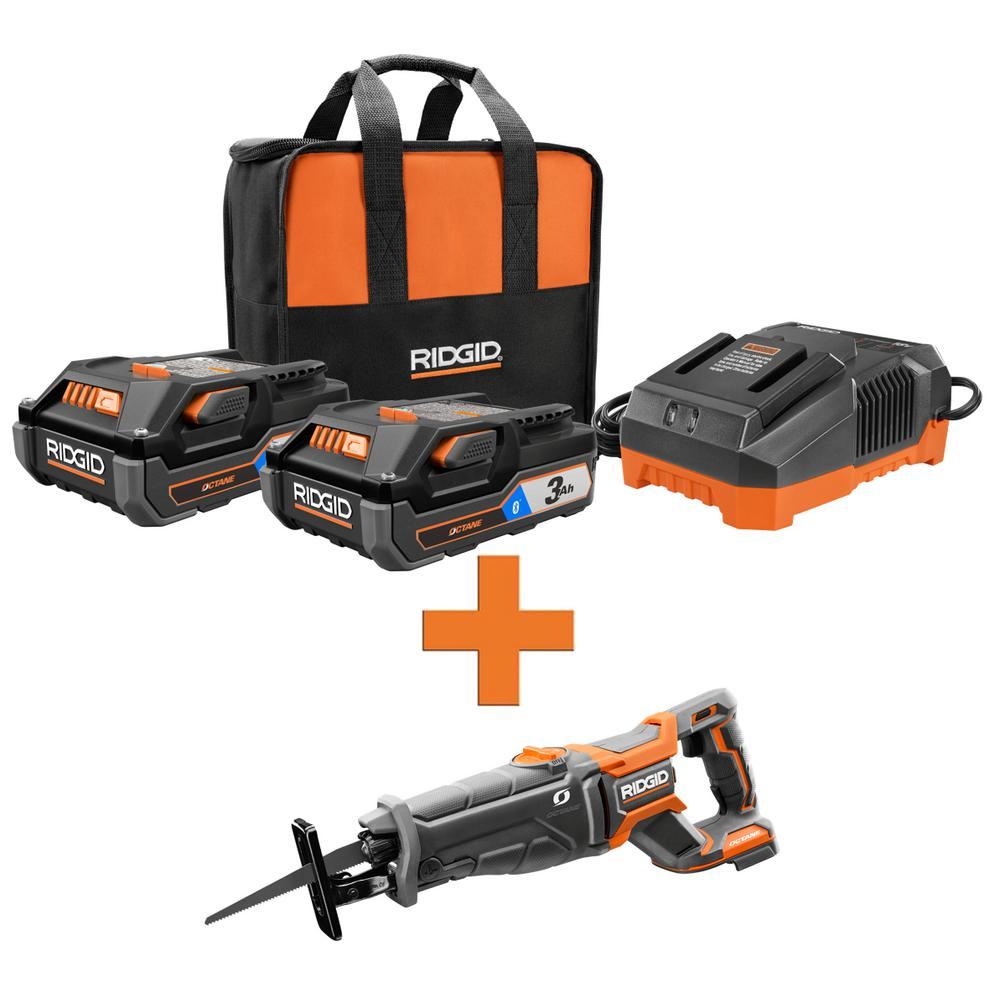 RIDGID 18-Volt OCTANE Lithium-Ion (2) 3.0 Ah Batteries and Charger Kit w/Free OCTANE Lithium-Ion Brushless Reciprocating Saw was $348.0 now $219.0 (37.0% off)