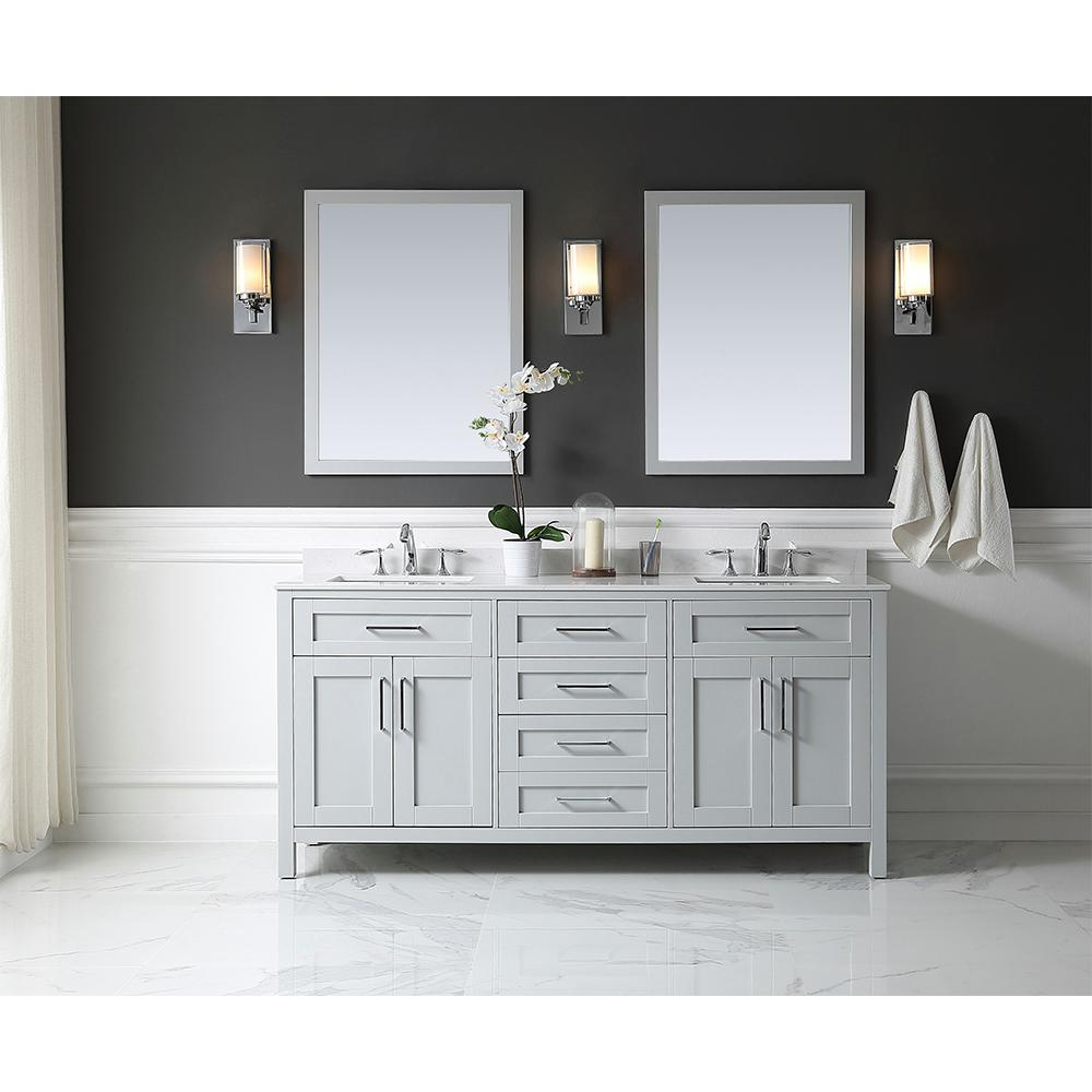Ove Decors Tahoe Vanity Dove Grey Marble Vanity Top White Basin Mirror