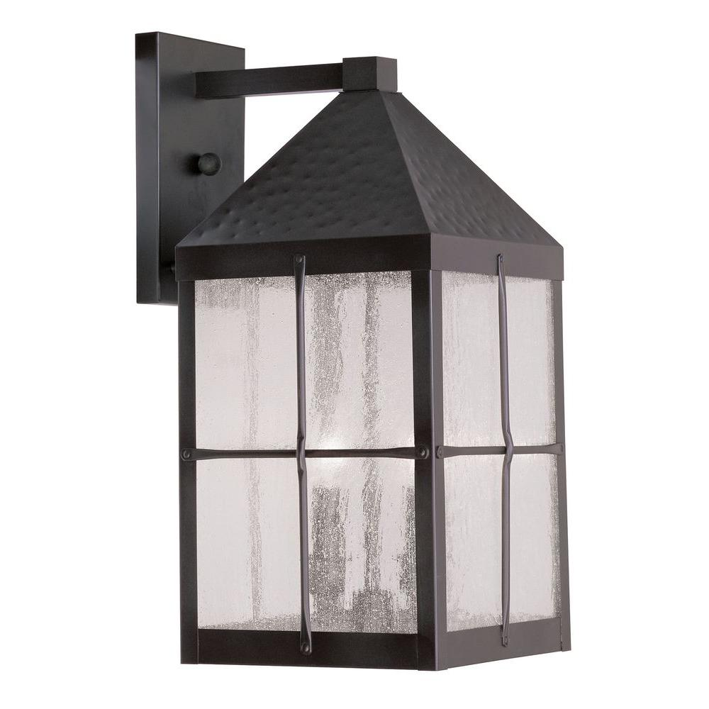 Livex Lighting Providence Wall-Mount 3-Light Hammered Bronze Outdoor Incandescent Lantern