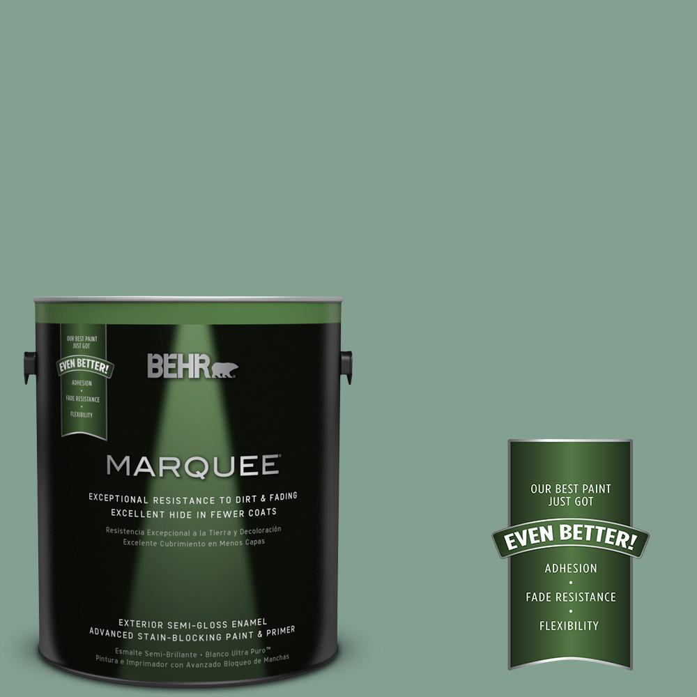 BEHR MARQUEE 1-gal. #MQ6-11 Mossy Bench Semi-Gloss Enamel Exterior Paint