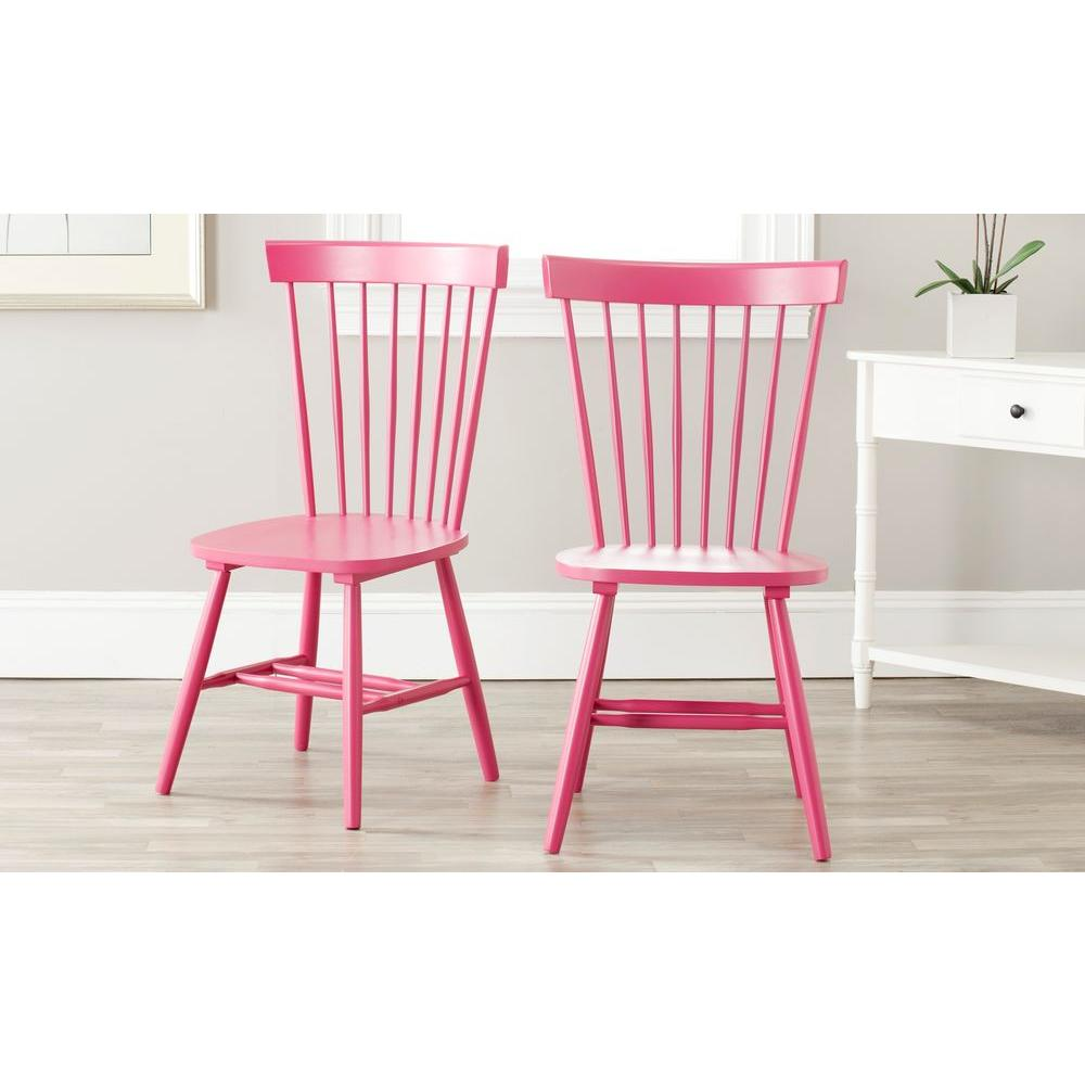 Safavieh Riley Pink Wood Dining Chair Set Of 2 Amh8500d Set2 The