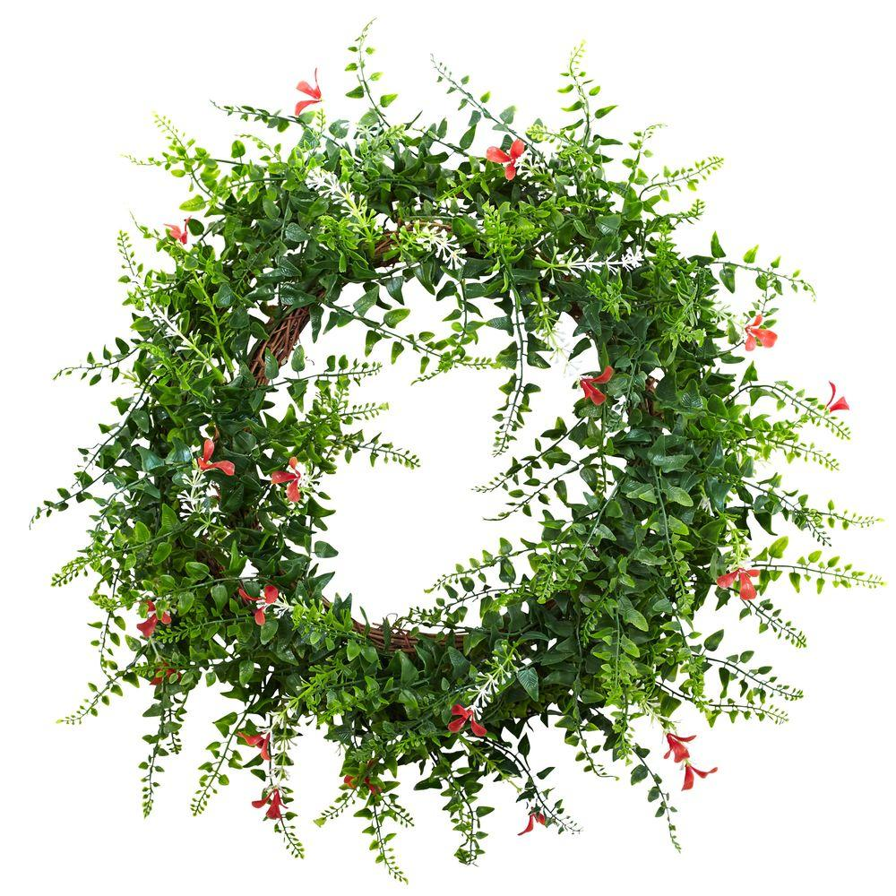 18 in. Floral and Fern Double Ring Wreath with Twig Base