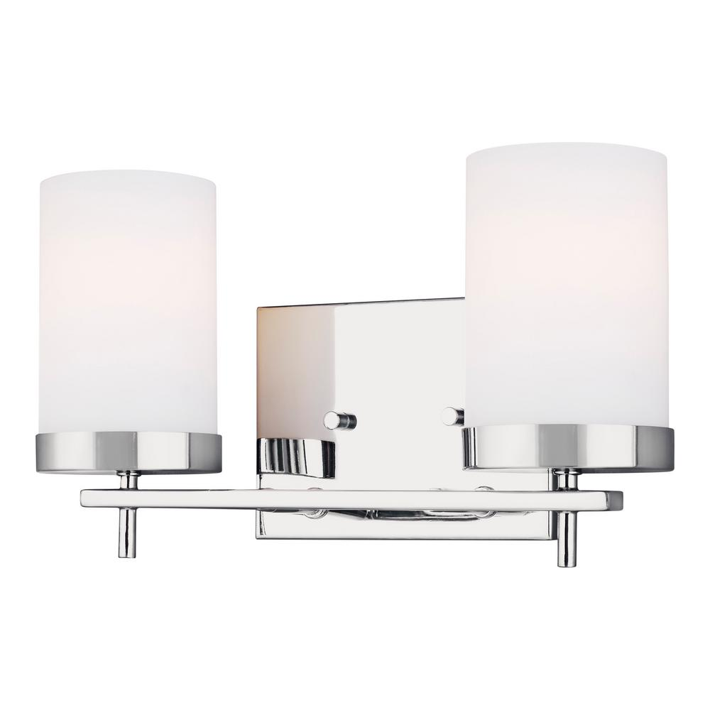 Sea Gull Lighting Zire 14 in. W 2-Light Chrome Vanity Light with Etched White Glass Shades with LED Bulbs