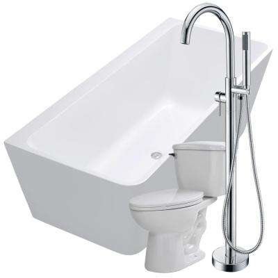Strait 67 in. Acrylic Flatbottom Non-Whirlpool Bathtub in White with Kros Faucet and Kame 1.28 GPF Toilet