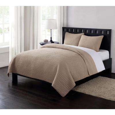 Garment Washed Crinkle Tan King Quilt Set