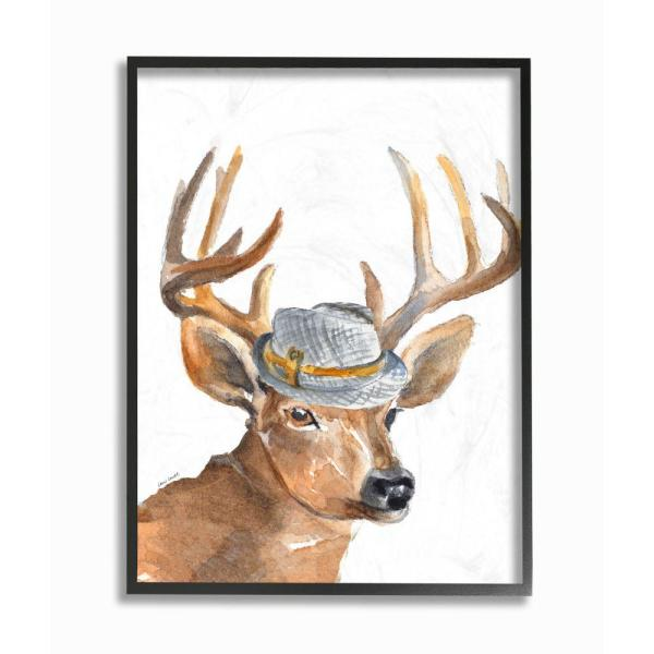 Stupell Industries 24 In X 30 In Funny Hat Fashion Deer By Lanie Loreth Framed Wall Art Aap 386 Fr 24x30 The Home Depot