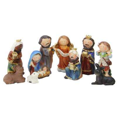 3.5 in. Durable Children's First Religious Nativity Christmas Gift Set (9-Piece)