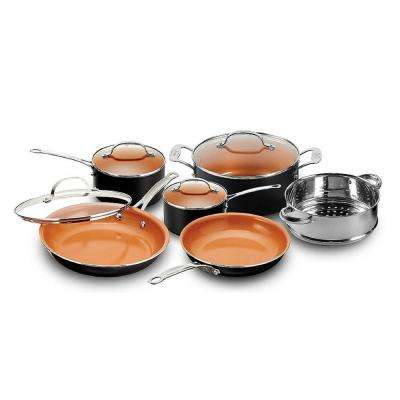 10-Piece Black Non-Stick Ti-Ceramic Round Cookware Set with Lids
