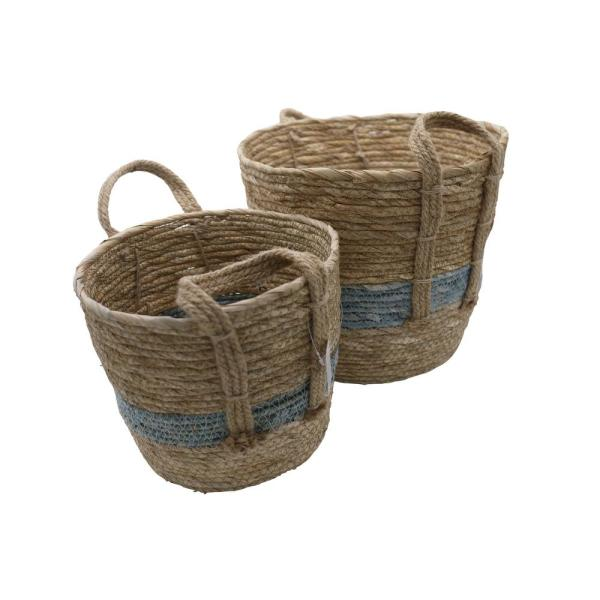 Admired By Nature Natural With Blue Tone Fabric Nesting Basket Seagrass Design With Handle Storage Bins Set Of 2 Abn5e122 Ntrl The Home Depot