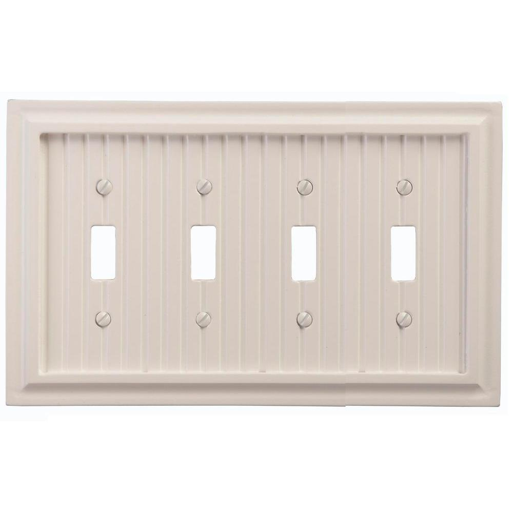 Amerelle Cottage 4 Toggle Wall Plate - White