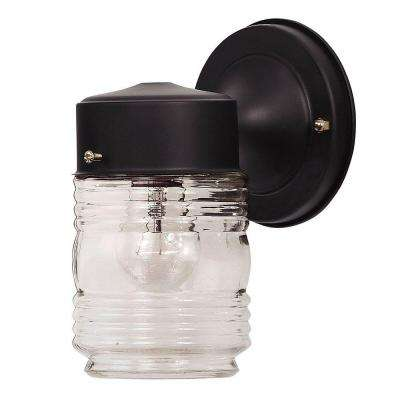 1-Light Black Jelly Jar Wall Mount with Clear Glass