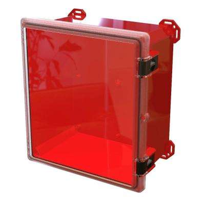 17.8 in. L x 16.3 in. W x 9.3 in. H Polycarbonate Clear Hinged Latch Top Cabinet Enclosure with Red Bottom