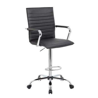 53.5 in. Black Ribbed Stitch Drafting Stool