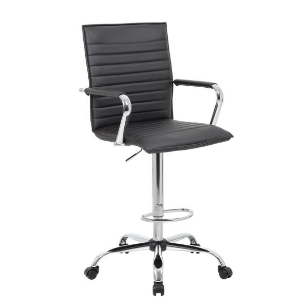 Boss 53.5 in. Black Ribbed Stitch Drafting Stool