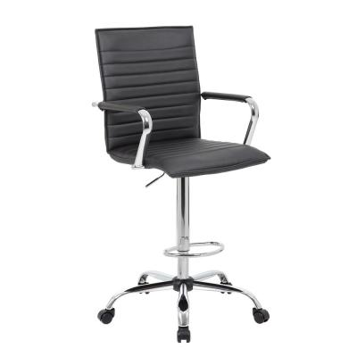 Designer Style Counter height Arm Chair. Black Caresoft Vinyl . Chrome Finish Arms, Footring & Base. Neumatic Lift
