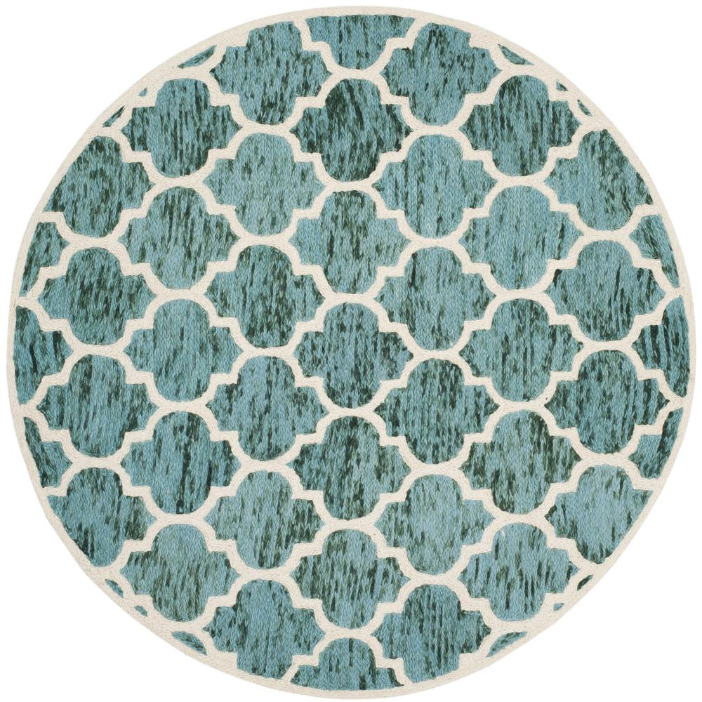 Safavieh Himalaya Turquoise Ivory 4 Ft X 6 Ft Area Rug: Safavieh Himalaya Turquoise/Ivory 6 Ft. X 6 Ft. Round Area