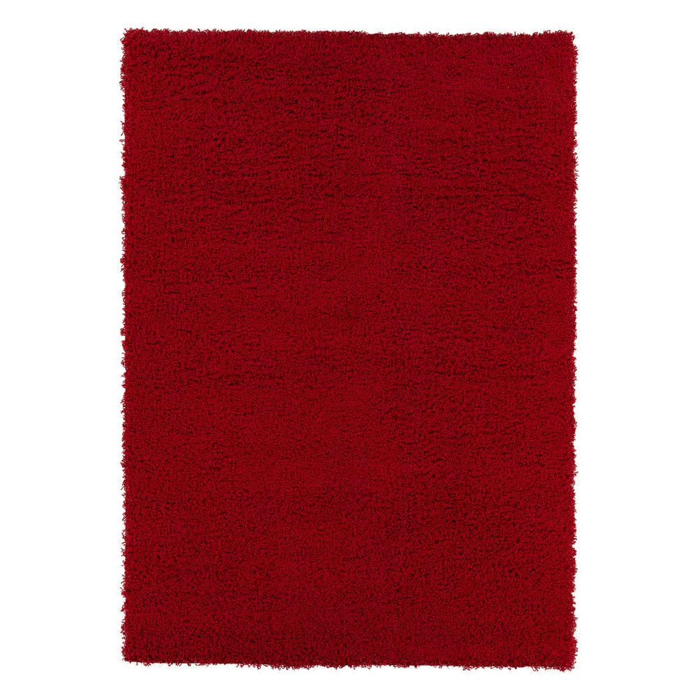 Berrnour Home Plush Solid Shaggy Dark Red 5 ft. x 7 ft. Shag Area Rug was $83.27 now $62.45 (25.0% off)