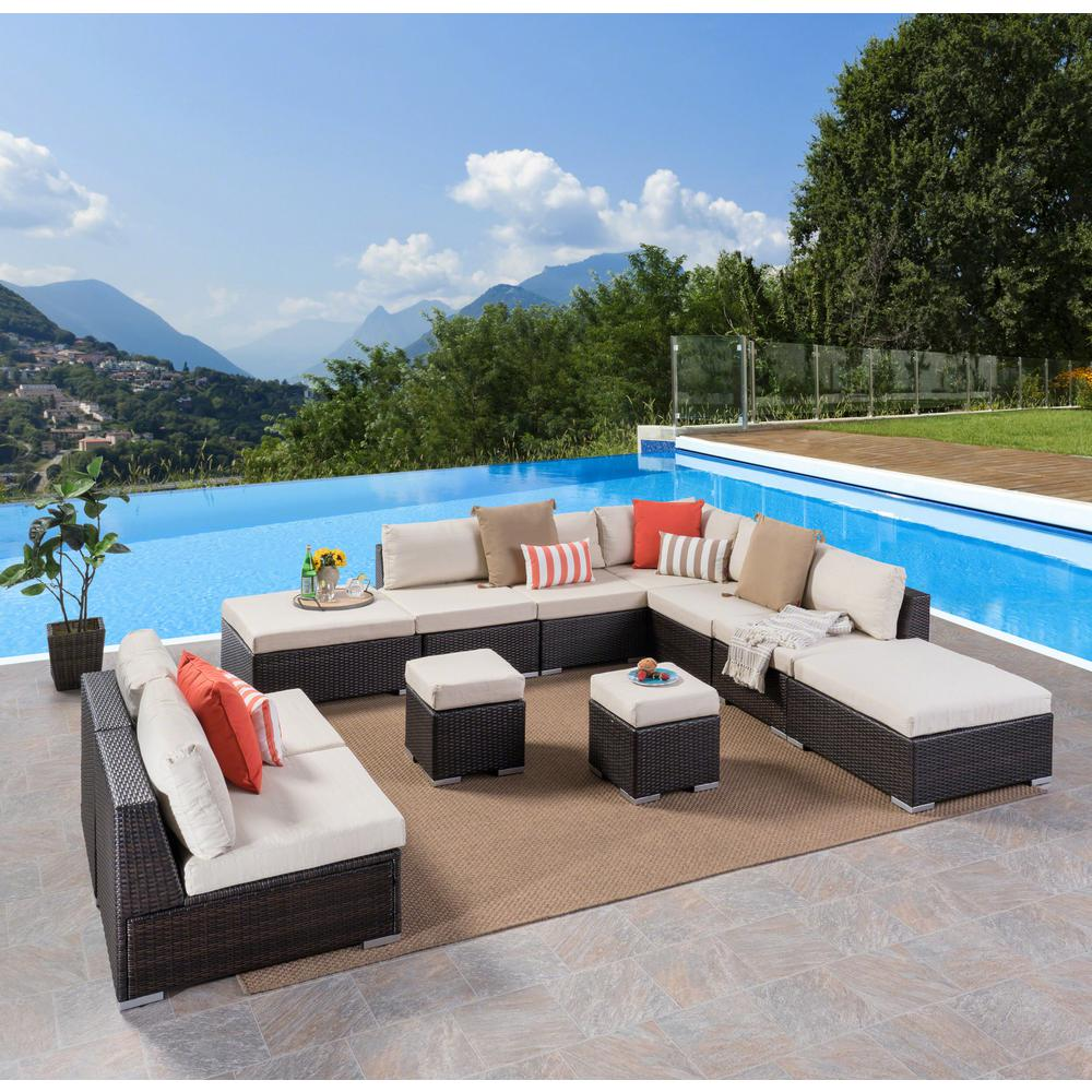 Noble House Multi Brown Wicker Outdoor Sectional Set Beige Cushions