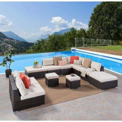 Beatrice Multi-Brown 11-Piece Wicker Outdoor Sectional Set with Beige Cushions