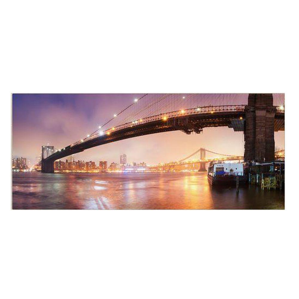 12 in. x 32 in. Brooklyn Bridge Pano 1 Canvas Art