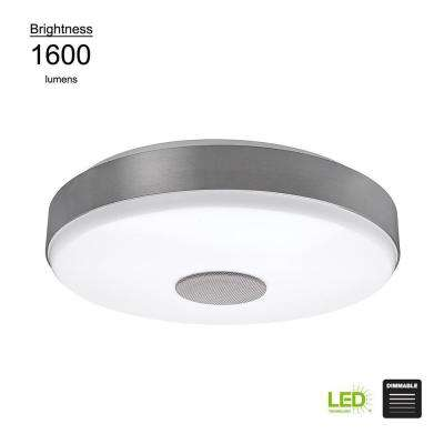 Smart Home  15 in. Round Brushed Nickel Integrated LED Flushmount with Bluetooth Speaker and Color Changing Feature