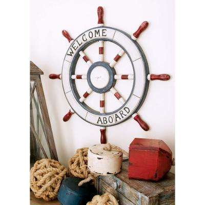 23 in. Dia Nautical Welcome Aboard Wooden Ship Wheel