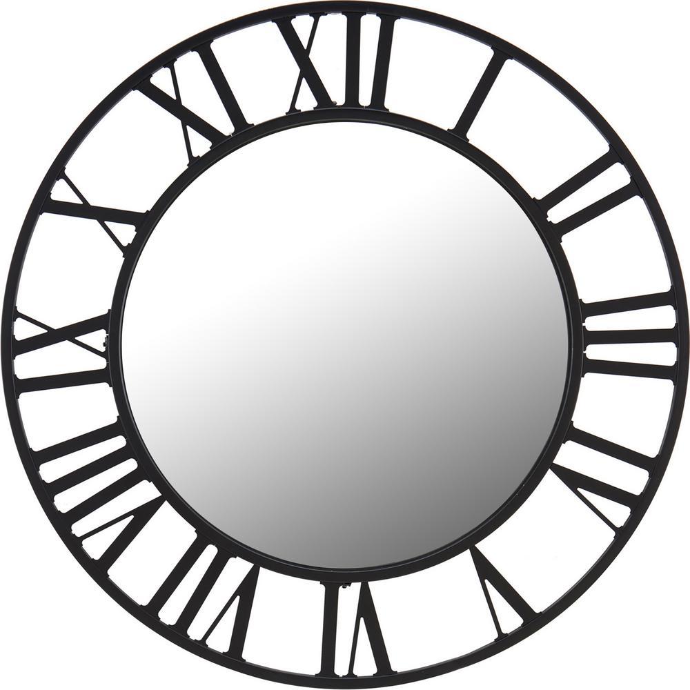 Medium Round Black Contemporary Mirror (30 in. H x 1.25 in. W)