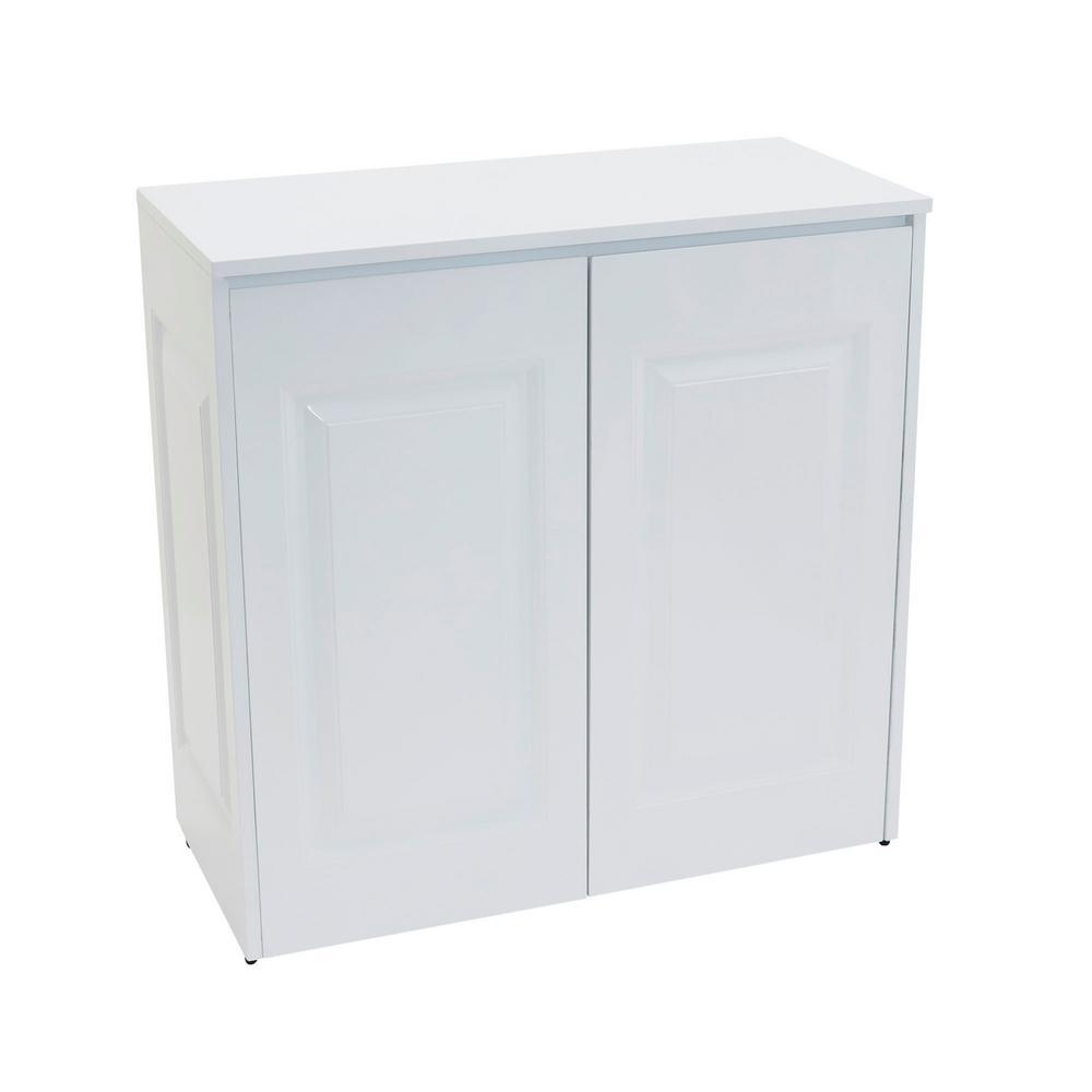 White Tilt Out Hamper with Cabinet Storage