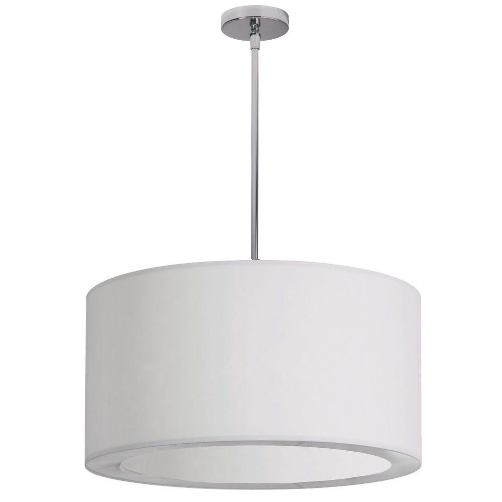 Jasmine 3-Light Polished Chrome Pendant with White Lycra Shade with Diffuser