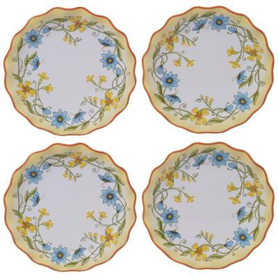Torino 4-Piece Country/Cottage Multi-Colored Ceramic 6 in. Canape Plate Set (Service for 4)