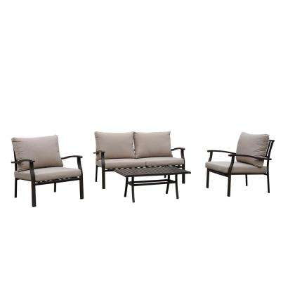 Columbia Brown 4 -Piece Aluminum Outdoor Sofa Set with Shoreline Cushions