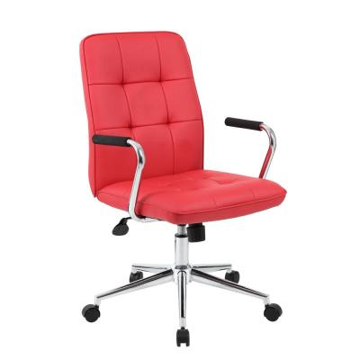 Modern Red Office Chair with Chrome Arms