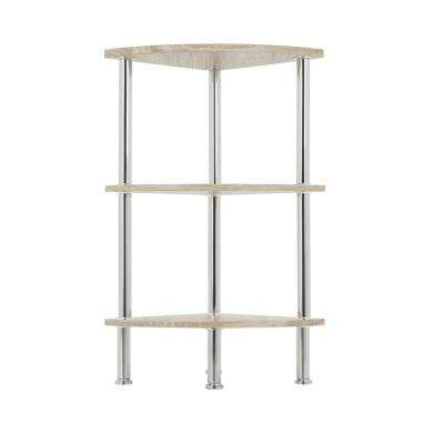 Whitewashed Oak and Chrome Corner 3-Tier Shelving Unit
