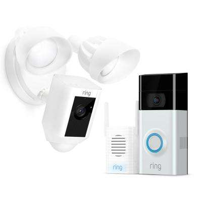 Wireless Video Doorbell 2 with Chime Pro and Floodlight Cam White