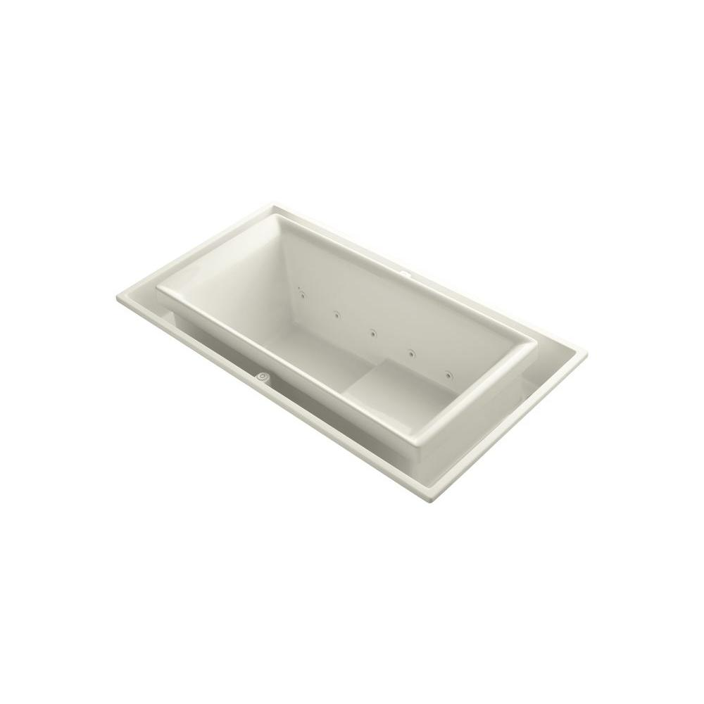 KOHLER Sok 63 in. Rectangular Drop-in Whirlpool Tub in Biscuit