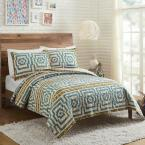 HYPNOTIC BLUE FULL QUEEN COTTON QUILT SET 3 PIECE BY JUSTINA BLAKENEY