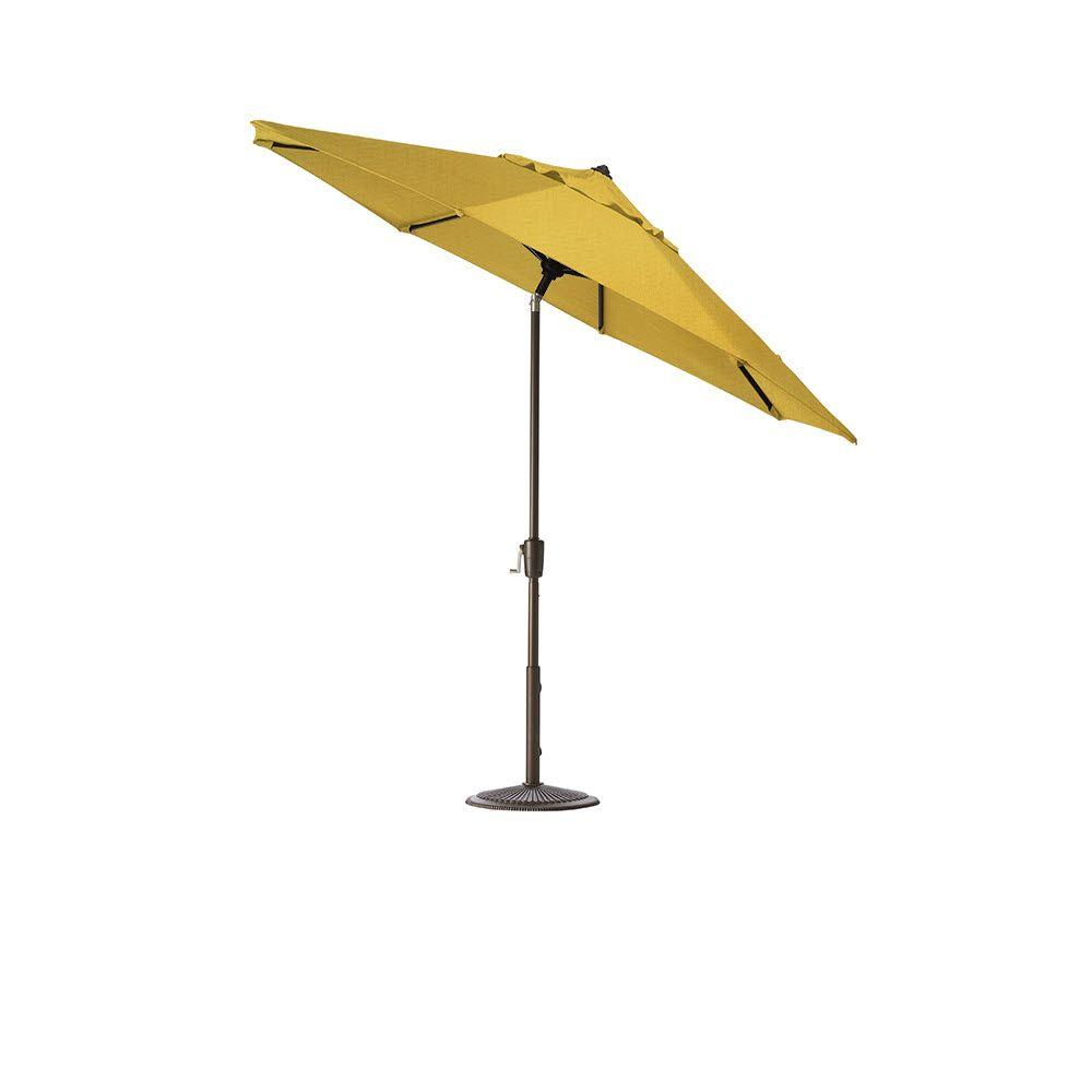 Home Decorators Collection 7.5 ft. Auto-Tilt Patio Umbrella in Daffodil Sunbrella with Bronze Frame
