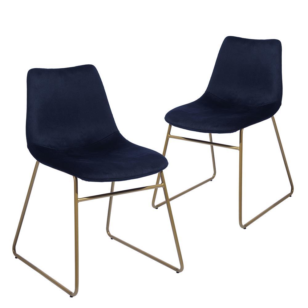 Batassel Dark Blue Velvet Elegant Dining Chairs (Set of 2)