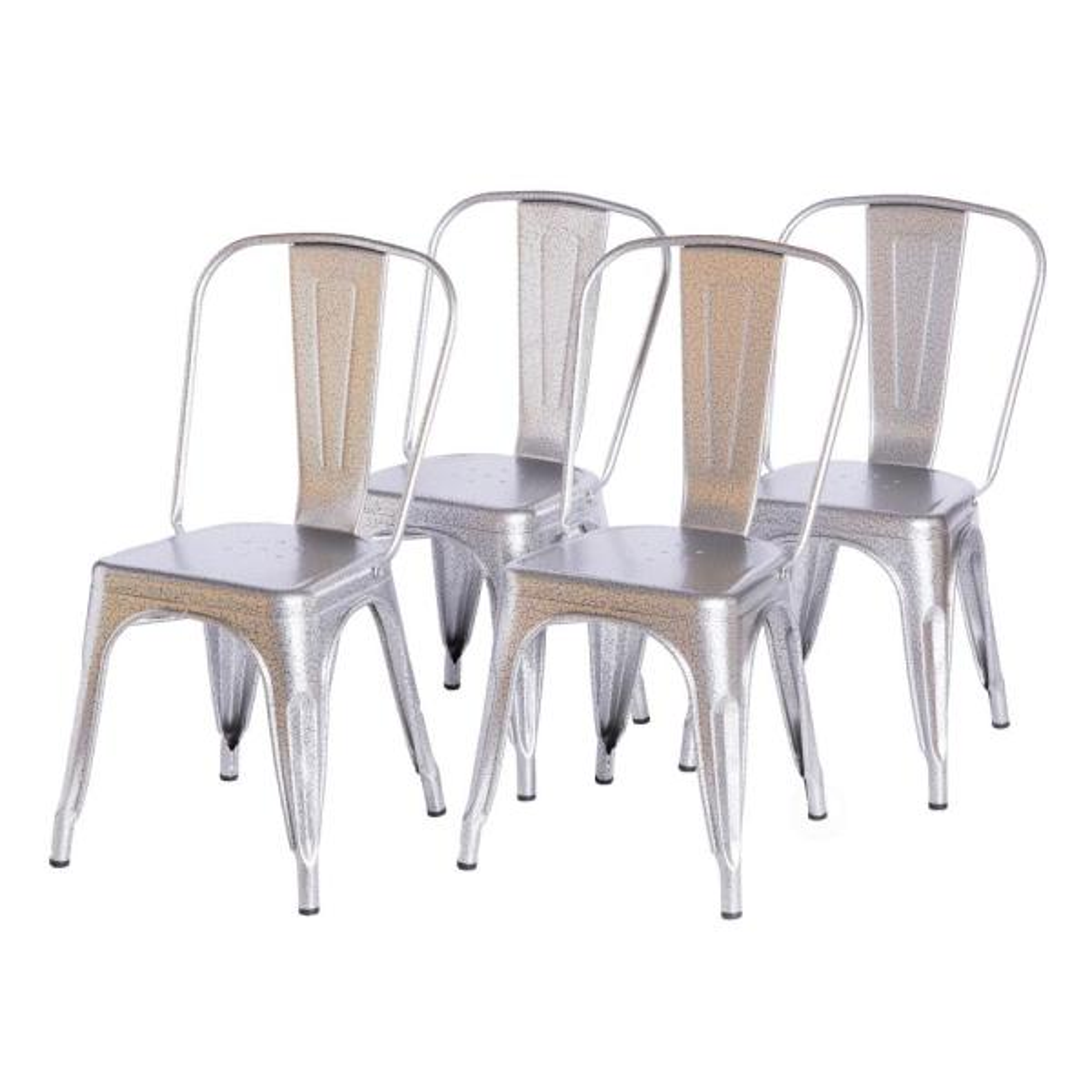 Set of 4 Metal Black Matt Industrial Dining Chair Kitchen-Cafe-Bistro-Vintage