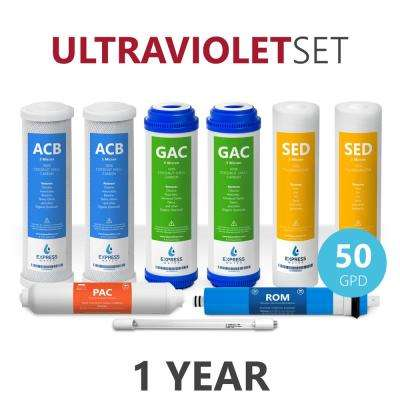 1 Year Ultraviolet Reverse Osmosis System Filter Set - 9 Filters with UV and 50 GPD RO Membrane - 10 in. Size Filters