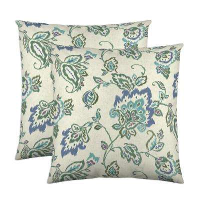 Dharma 18 in. x 18 in. Lagoon Decorative Pillow (2-Pack)