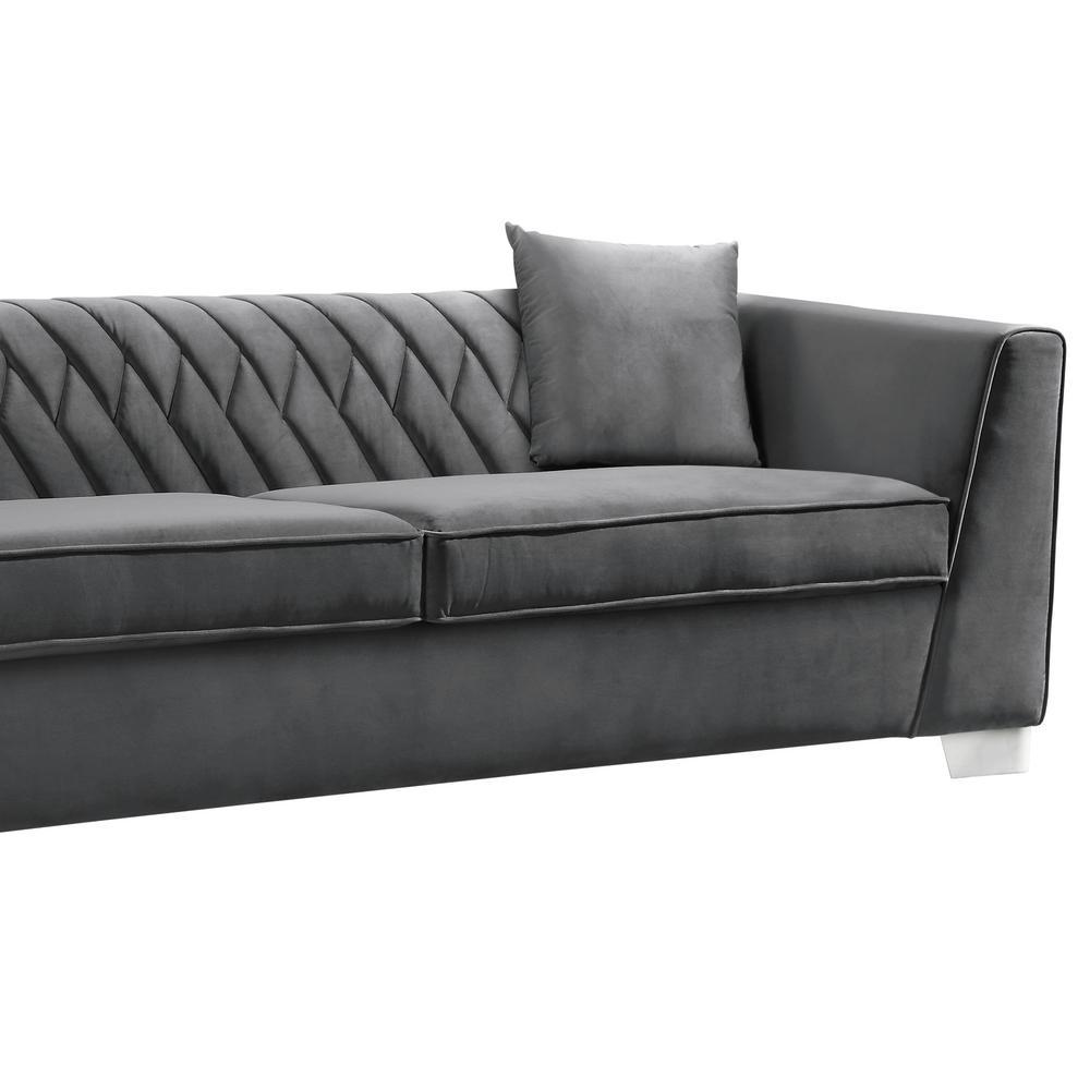 Cambridge Armen Living Dark Grey Velvet Contemporary Sofa in ...